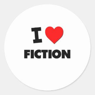 I Love Fiction Round Stickers