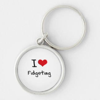 I Love Fidgeting Silver-Colored Round Key Ring