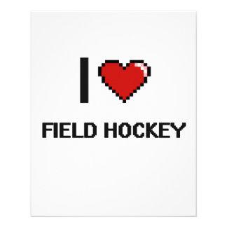 I Love Field Hockey Digital Retro Design 11.5 Cm X 14 Cm Flyer