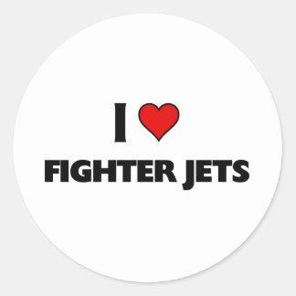 I love Fighter jets Classic Round Sticker