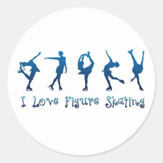 I love figure skating- blue classic round sticker