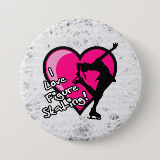 I love figure skating button, on ice 7.5 cm round badge