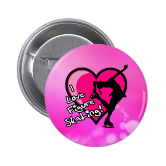 I love figure skating button, on pink 6 cm round badge