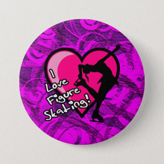 I love figure skating button, purple swirls 7.5 cm round badge