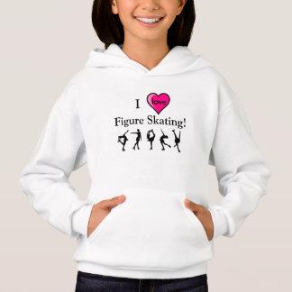 I Love Figure Skating Girls Hooded Shirt & Heart