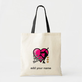 I LOVE FIGURE SKATING HEARTS AND SKATER TOTE BAG