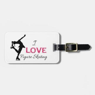 I LOVE Figure Skating, Snowflakes & Skater Luggage Tag