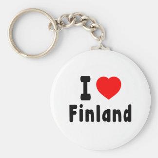 I Love Finland. Basic Round Button Key Ring