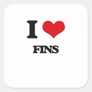 i LOVE fINS Square Stickers