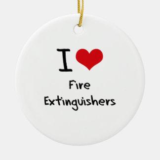 I Love Fire Extinguishers Round Ceramic Decoration