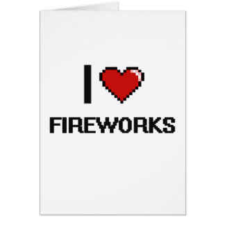 I Love Fireworks Digital Retro Design Greeting Card
