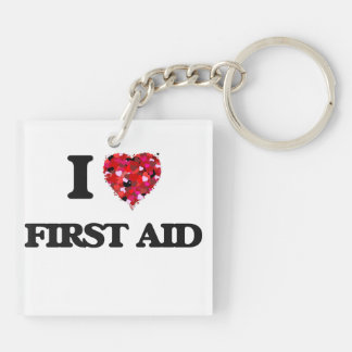I Love First Aid Double-Sided Square Acrylic Key Ring