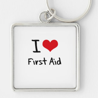I Love First Aid Silver-Colored Square Key Ring