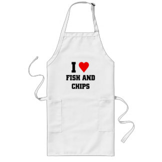 I love Fish and chips Long Apron