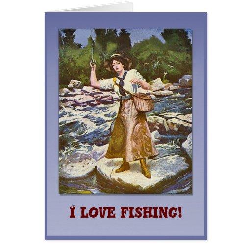 I love fishing card