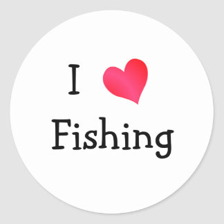 I Love Fishing Round Sticker