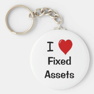 I Love Fixed Assets - I Heart Fixed assets Basic Round Button Key Ring