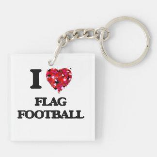 I love Flag Football Double-Sided Square Acrylic Key Ring