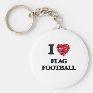 I love Flag Football Basic Round Button Key Ring