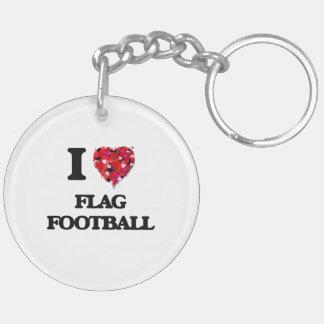 I love Flag Football Double-Sided Round Acrylic Key Ring