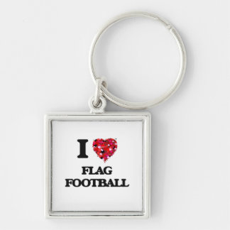 I love Flag Football Silver-Colored Square Key Ring