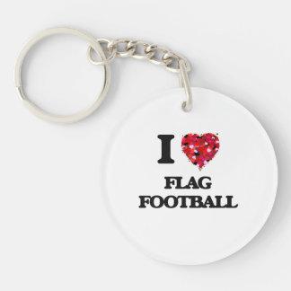I love Flag Football Single-Sided Round Acrylic Key Ring