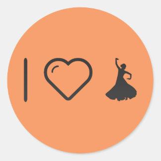 I Love Flamenco Hands Round Sticker