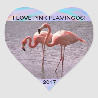 I LOVE FLAMINGOS 2017 HEART STICKER