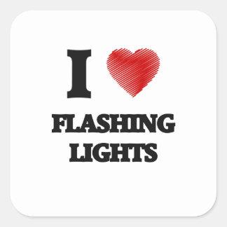 I love Flashing Lights Square Sticker