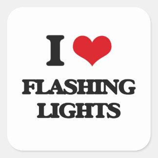 i LOVE fLASHING lIGHTS Square Stickers