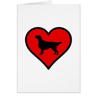 I Love Flat-Coated Retriever Silhouette Heart Greeting Card
