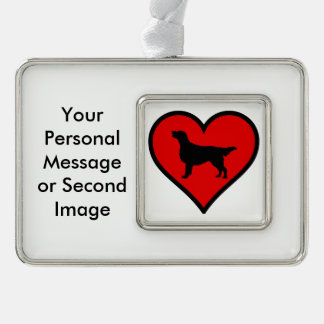 I Love Flat-Coated Retriever Silhouette Heart Silver Plated Framed Ornament