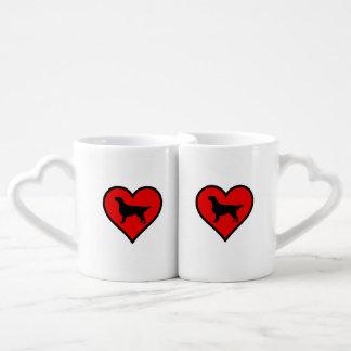 I Love Flat-Coated Retriever Silhouette Heart Couple Mugs