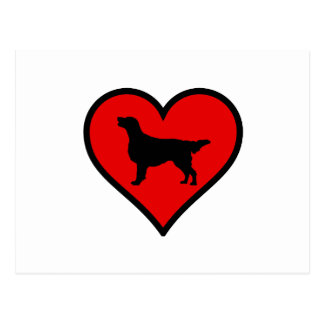 I Love Flat-Coated Retriever Silhouette Heart Postcard