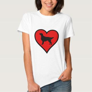 I Love Flat-Coated Retriever Silhouette Heart Tee Shirt