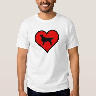 I Love Flat-Coated Retriever Silhouette Heart Tshirts