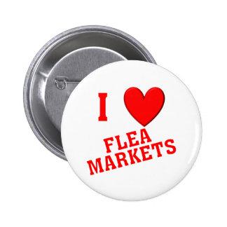 I Love Flea Markets 6 Cm Round Badge