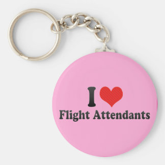 I Love Flight Attendants Basic Round Button Key Ring
