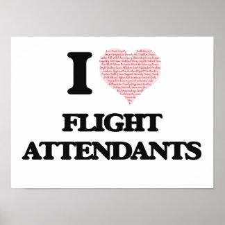 I love Flight Attendants (Heart made from words) Poster