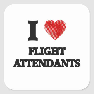 I love Flight Attendants Square Sticker