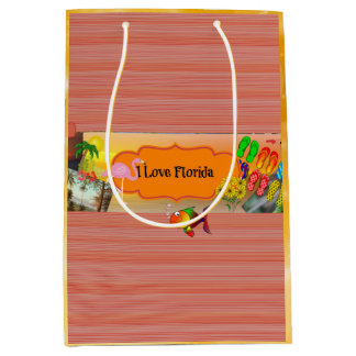 I Love Florida, Colorful Collage Medium Gift Bag