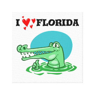 i love florida sweet crocodile funny cartoon canvas print