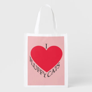 I Love Fluffy Cats Reusable Grocery Bag