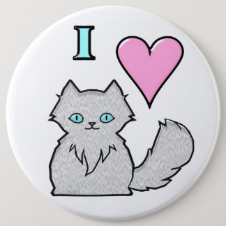 I Love Fluffy White Kitties 6 Cm Round Badge