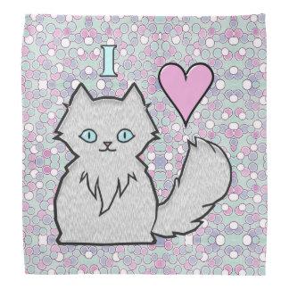 I Love Fluffy White Kitties Bandannas