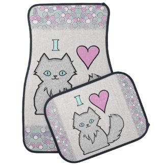 I Love Fluffy White Kitties Floor Mat