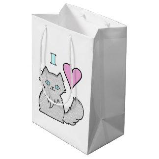 I Love Fluffy White Kitties Medium Gift Bag