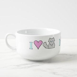 I Love Fluffy White Kitties Soup Mug