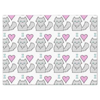 I Love Fluffy White Kitties Tissue Paper