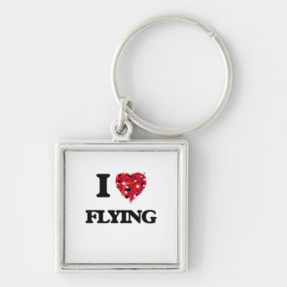 I Love Flying Silver-Colored Square Key Ring